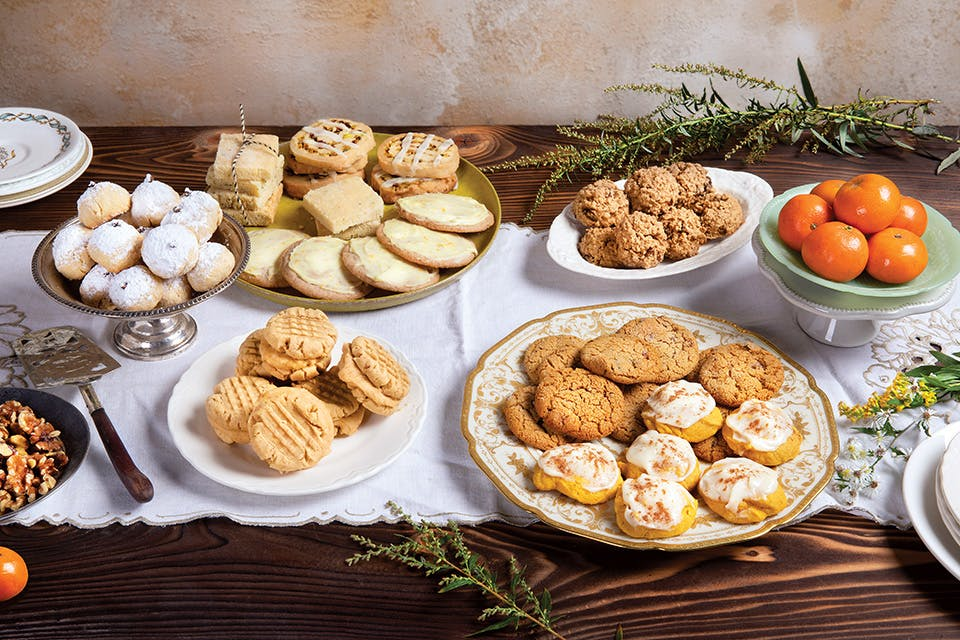 Holiday cookies on table