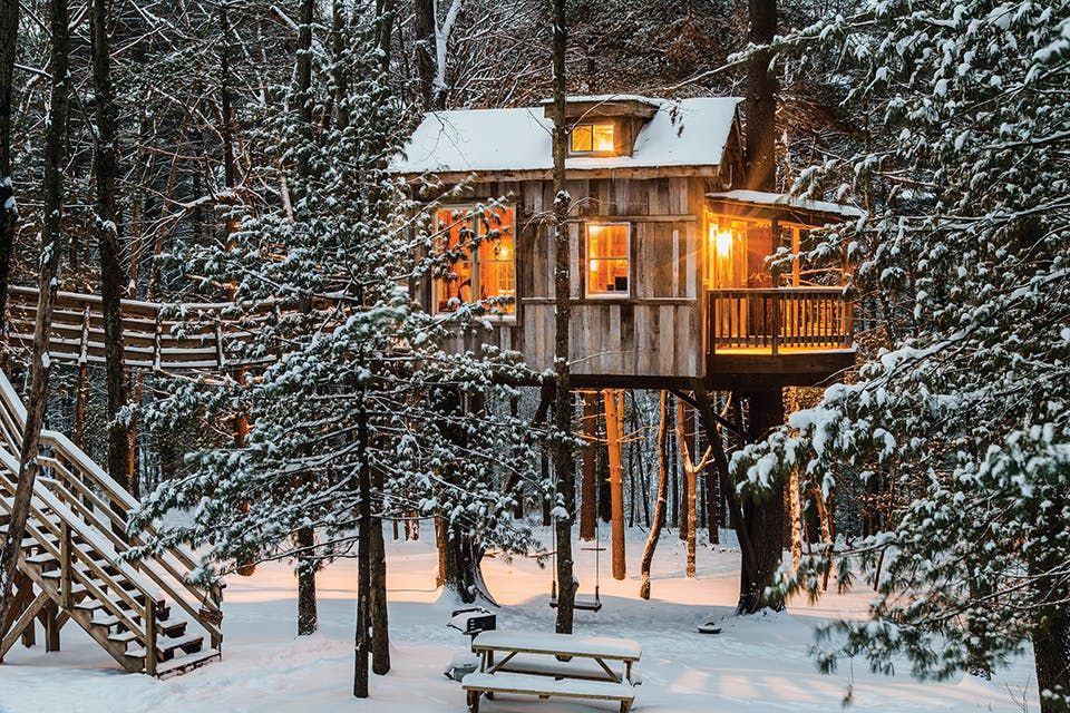 Old Pine Treehouse at Mohican in winter (photo by Chris McClelan)